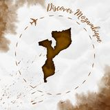 Mozambique watercolor map in sepia colors. Royalty Free Stock Photo