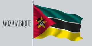 Mozambique waving flag on flagpole vector illustration. Green yellow red element of Mozambican wavy realistic flag as a symbol of country Royalty Free Stock Photo
