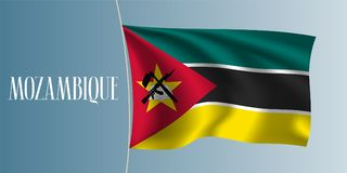 Mozambique waving flag vector illustration. Iconic design element as a national Mozambican symbol Royalty Free Stock Images