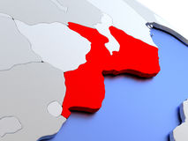 Mozambique on world map Stock Image