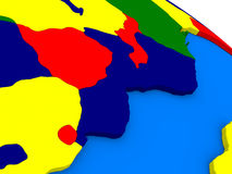 Mozambique and Zimbabwe on colorful 3D globe Stock Images