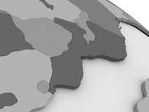 Mozambique and Zimbabwe on grey 3D map Royalty Free Stock Photos
