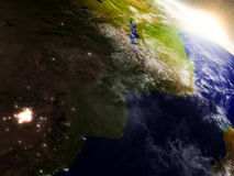 Mozambique and Zimbabwe from space during sunrise Stock Photos