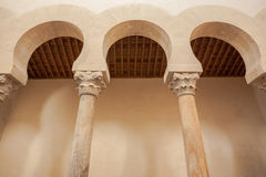 Mozarabic arcade closeup view. Closeup view of the mozarabic arcade in the chruch of San Cebrian de Mazote located in the province of Valladolid Spain Stock Photography