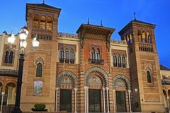 The Mozarabic Pavilion of Maria Luisa Park in Seville. Is one of the most beautiful buildings. It is located in the area of the park known as Plaza de América Stock Photography