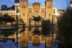 The Mozarabic Pavilion of Maria Luisa Park in Seville. Is one of the most beautiful constructions. It is located in the area of the park known as Square from Royalty Free Stock Photos