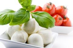Mozarela, tomates y albahaca imagenes de archivo