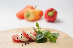 Mozarela y tomate con pimientas Fotografía de archivo libre de regalías