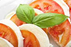 Mozarela y tomates Imagenes de archivo