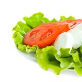 Mozarell cheese with tomato and salad. Mozarella with tomato and salad on white plate Stock Images