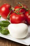 Mozarella. Basil and tomatos on wood Royalty Free Stock Image