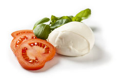 Mozarella Cheese. With tomatoe slices and basil Stock Photography