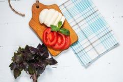 Mozarella cheese with tomatos and basil. Close up Royalty Free Stock Photo