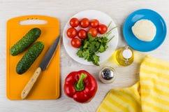 Mozarella, groenten, scherpe raad, zoute, plantaardige olie, kitc royalty-vrije stock fotografie