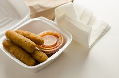 Mozarella Sticks  in Takeout Container Royalty Free Stock Photo