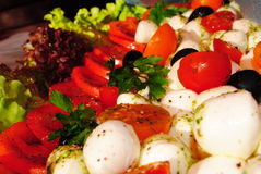 Mozarella with tomatoes Stock Photos