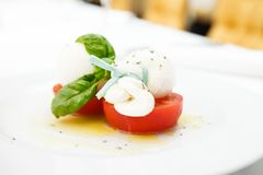 Mozarellakaas met tomaten stock fotografie