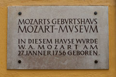 Mozart Birthhouse in Salzburg Stock Image