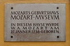Mozart Birthhouse in Salzburg Stockbild