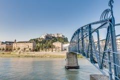 Mozart bridge (Mozartsteg) and Salzach river at Salzburg, Austri Royalty Free Stock Photos