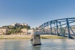 Mozart bridge (Mozartsteg) in Salzburg, Austri Stock Photos