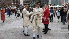 Mozart men in the streets of Vienna city centre. VIENNA,AUSTRIA - CIRCA APRIL 2016: Mozart men crowd in the very city centre Stock Images