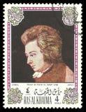 Mozart på pianot av Joseph Lange Arkivbilder
