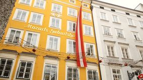 Mozart`s birthplace in Salzburg during winter, birthplace of Mozart, genius of classical music