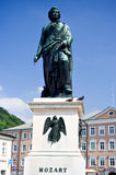 Mozart's hometown in Salzburg,Austria. This was photoed in Mozart's hometown, where a statuary was built to monumentalized him. Mozart (Wolfgang Amadeus, 1756 Royalty Free Stock Photos