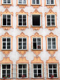Mozart's house in Salzburg. Detail of Mozart's house windows in Salzburg (Austria Royalty Free Stock Images