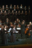 Mozart's Requiem. DNEPROPETROVSK, UKRAINE - NOVEMBER 23: Members of the Choir and Symphonic Orchestra of the State Opera and Ballet Theatre perform Mozart's Stock Photography