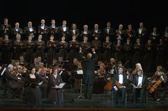 Mozart's Requiem. DNEPROPETROVSK, UKRAINE - NOVEMBER 23: Members of the Choir and Symphonic Orchestra of the State Opera and Ballet Theatre perform Mozart's Royalty Free Stock Photo