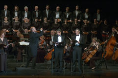 Mozart's Requiem. DNEPROPETROVSK, UKRAINE - NOVEMBER 23: Members of the Choir and Symphonic Orchestra of the State Opera and Ballet Theatre perform Mozart's Royalty Free Stock Image