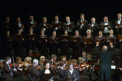 Mozart's Requiem. DNEPROPETROVSK, UKRAINE - NOVEMBER 23: Members of the Choir and Symphonic Orchestra of the State Opera and Ballet Theatre perform Mozart's Stock Photos