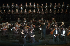 Mozart's Requiem. DNEPROPETROVSK, UKRAINE - NOVEMBER 23: Members of the Choir and Symphonic Orchestra of the State Opera and Ballet Theatre perform Mozart's Stock Photo