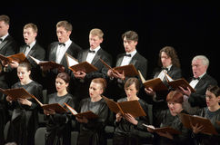 Mozart's Requiem. DNIPROPETROVSK, UKRAINE - APRIL 26, 2016: Members of the Choir of the State Opera and Ballet Theatre perform Mozart's REQUIEM Royalty Free Stock Photography
