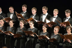 Mozart's Requiem. DNIPROPETROVSK, UKRAINE - APRIL 26, 2016: Members of the Choir of the State Opera and Ballet Theatre perform Mozart's REQUIEM Stock Photos