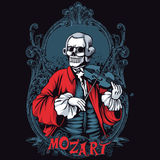 Mozart Skeleton Shirt Design. Mozart classic music skeleton t-shirt or poster print design Stock Photos