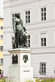 Mozart statue Salzburg Stock Photo