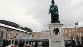 Mozart statue in Salzburg during winter, birth city of Mozart, genius of classical music