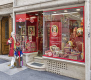 Mozart traditional sweets and souvenirs store in Salzburg, Austria. Royalty Free Stock Photo