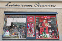 Mozart traditional sweets and souvenirs store in Salzburg, Austria. Stock Image