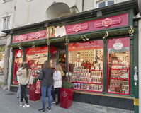 Mozart traditional sweets and souvenirs store in Salzburg, Austria. Royalty Free Stock Images