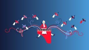 Mozart voerde zijn muziek op het klavecimbel uit vector illustratie