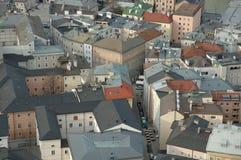 mozartssalzburg town royaltyfria bilder