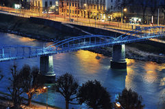 Mozartsteg Bridge in Salzburg, Austria at Night Stock Photography