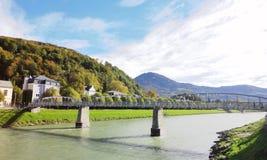 Mozartsteg, Salzburg, Austria. Mozartsteg footbridge over the Salzach River in Salzburg, Austria.  Location for a scene in the film, Sound of Music Royalty Free Stock Photography