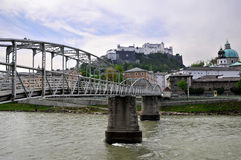 The Mozartsteg in Salzburg - The River Salzach Stock Photos