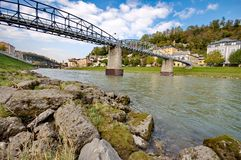 Mozartsteg walking bridge in Salzburg Royalty Free Stock Photo