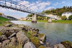 Mozartsteg walking bridge in Salzburg Royalty Free Stock Image